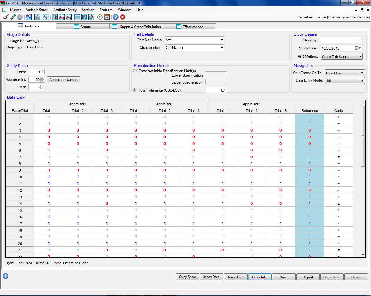 ProMSA: Attribute Studies: CrossTab Study Data Entry Screen