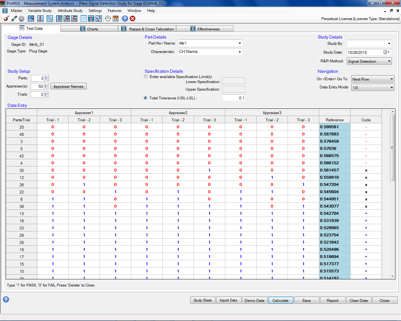 ProMSA: Attribute Studies: Signal Detection Method Data Entry Screen
